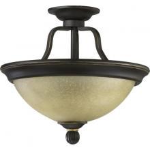 Quorum 2872-14-95 - Two Light Old World Amber Scavo Glass Bowl Semi-Flush Mount