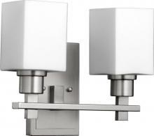 Quorum 5498-2-65 - Two Light Satin Nickel Satin Opal Glass Wall Light