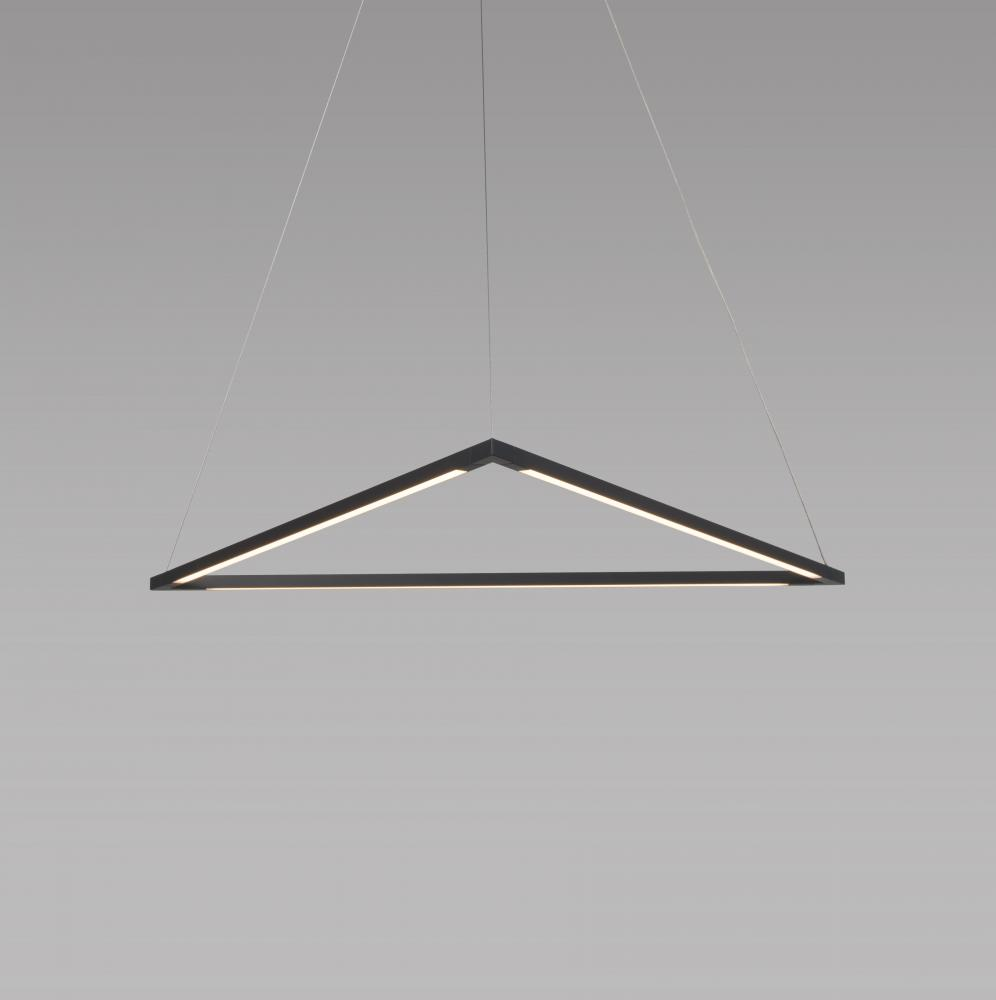 "Z-Bar Pendant 24"", Triangle, Soft Warm (3000K), Matte Black, Canopy"